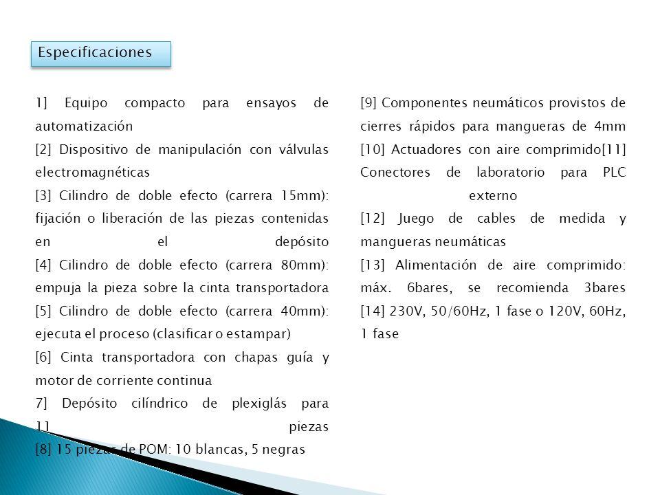 Especificaciones 1] Equipo compacto para ensayos de automatización